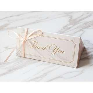 Wedding Welcome Gift / Door Gift - Marble Paper Box for sweets (triangular)