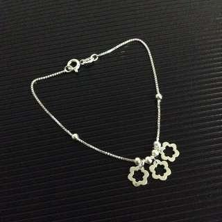 Genuine 925 Silver Triple Flowers with Balls Bracelet