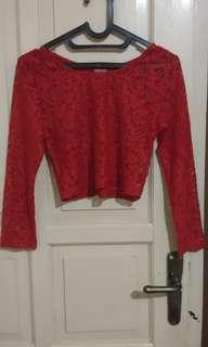 Crop top red lace
