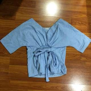 Blue Denim Tied Top