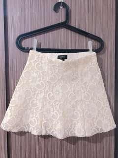 F21 White Lace Skirt