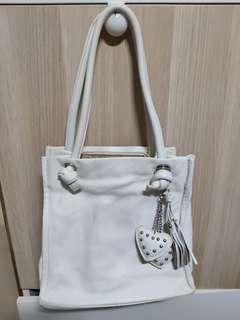 Genuine leather white shoulder bag