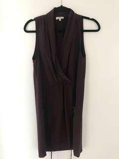 Wilfred Barely Worn dark purple wrap around dress 100% Silk