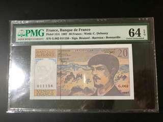 France, (1997)  20 Francs, PMG 64 EPQ