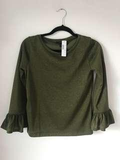 J-Crew olive green long sleeved shirt with bell sleeves