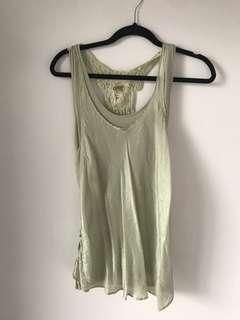 Lace Back silk tank top size small
