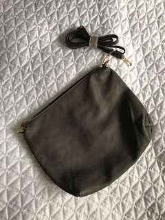NEW Grey Leather Crossbody Purse from Italy