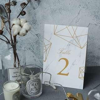 Wedding Table Number Tent Cards