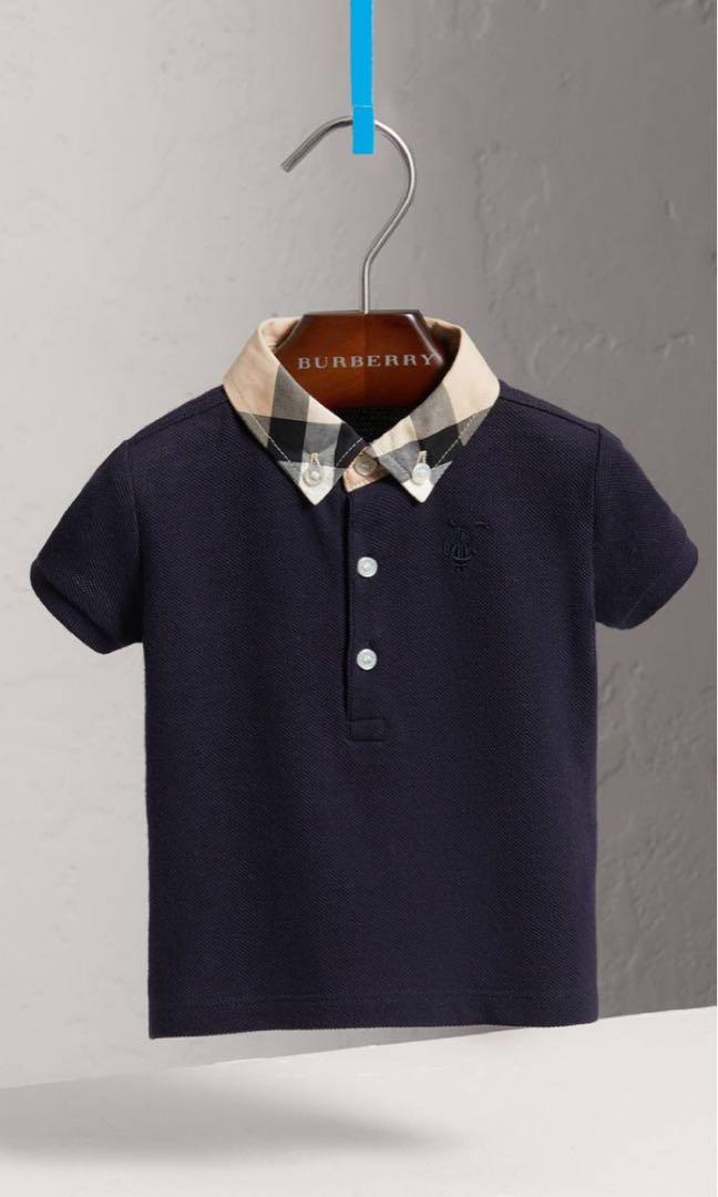 6ed6f714 3Y Burberry Check Collar Cotton Polo Tee NAVY BLUE, Babies & Kids ...
