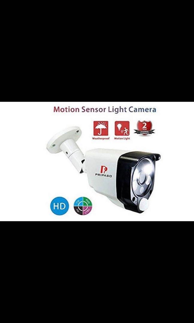 [E522] pripaso Motion Sensor Security Camera 1 0MP/720P Wired HD  TVI/CVI/AHD CCTV Smart Alarm Light Camera with Heat Based Motion Detection  with Night