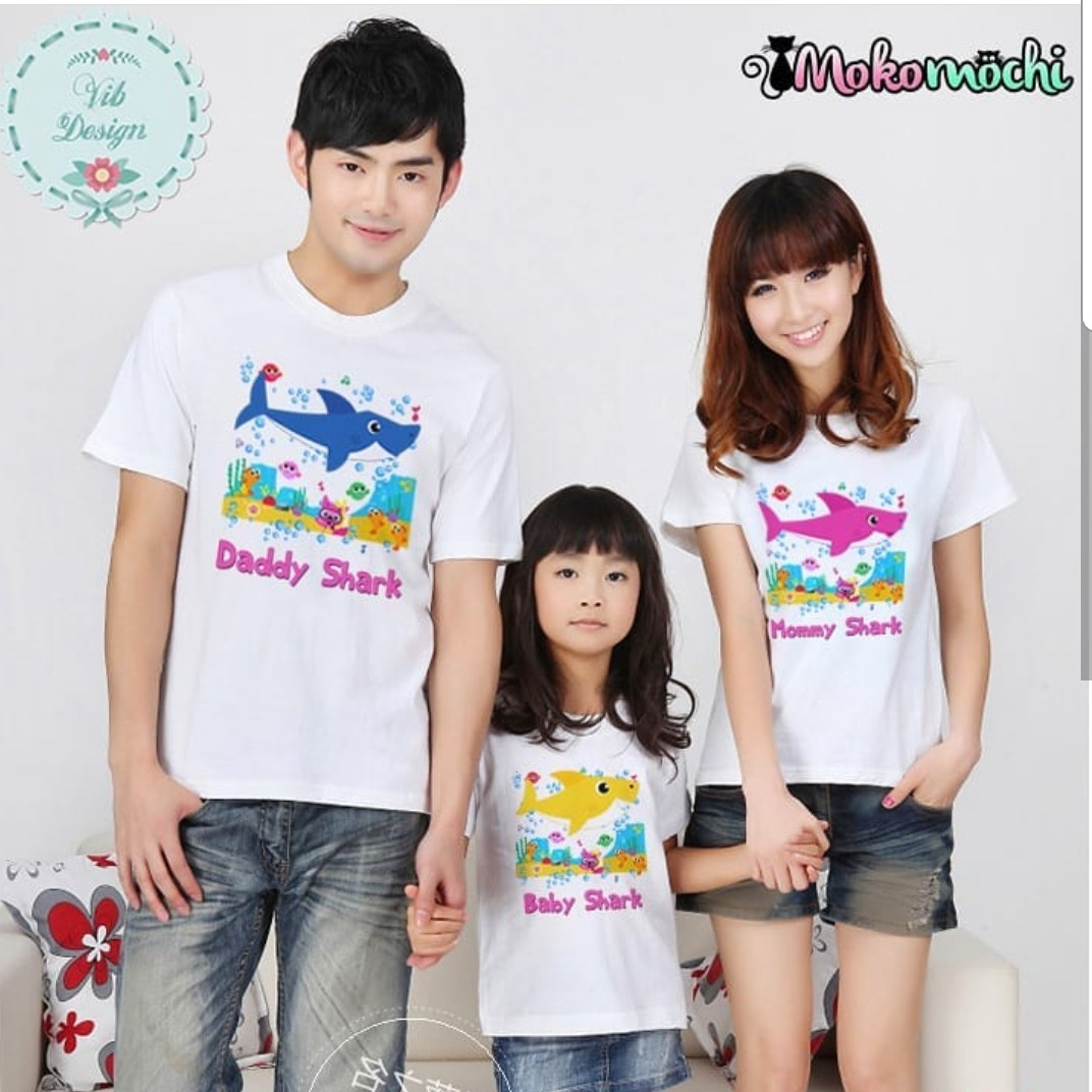 Pinkfong Sharks Family Personalised Birthday Couple T Shirt