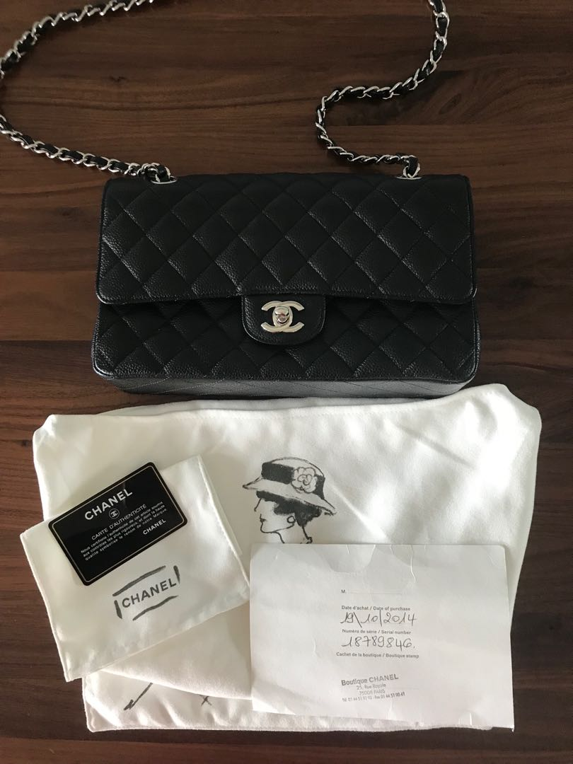955d343d111e6 Chanel Black Quilted Caviar Small Clic Double Flap Bag Luxury