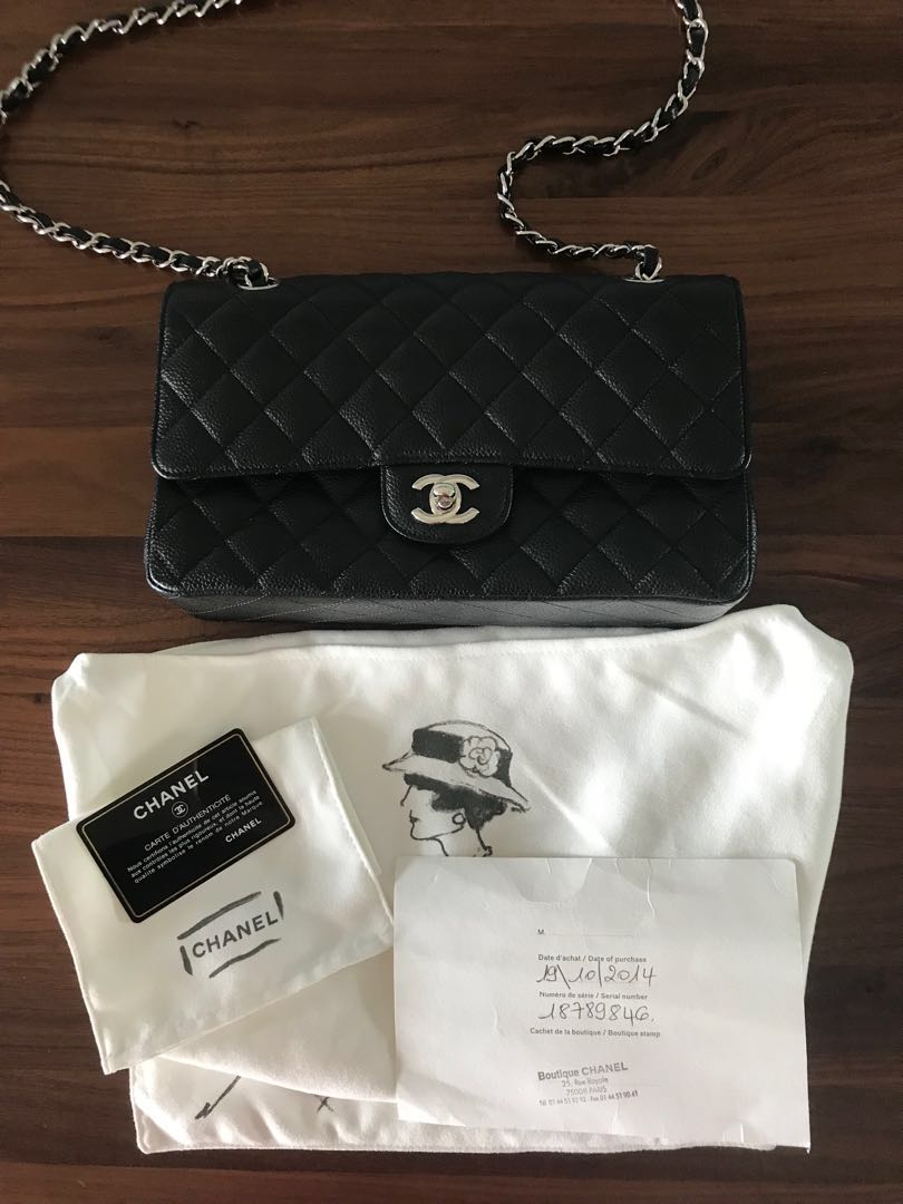 f8d9bf54373863 Chanel Black Quilted Caviar Small Classic Double Flap Bag, Luxury ...