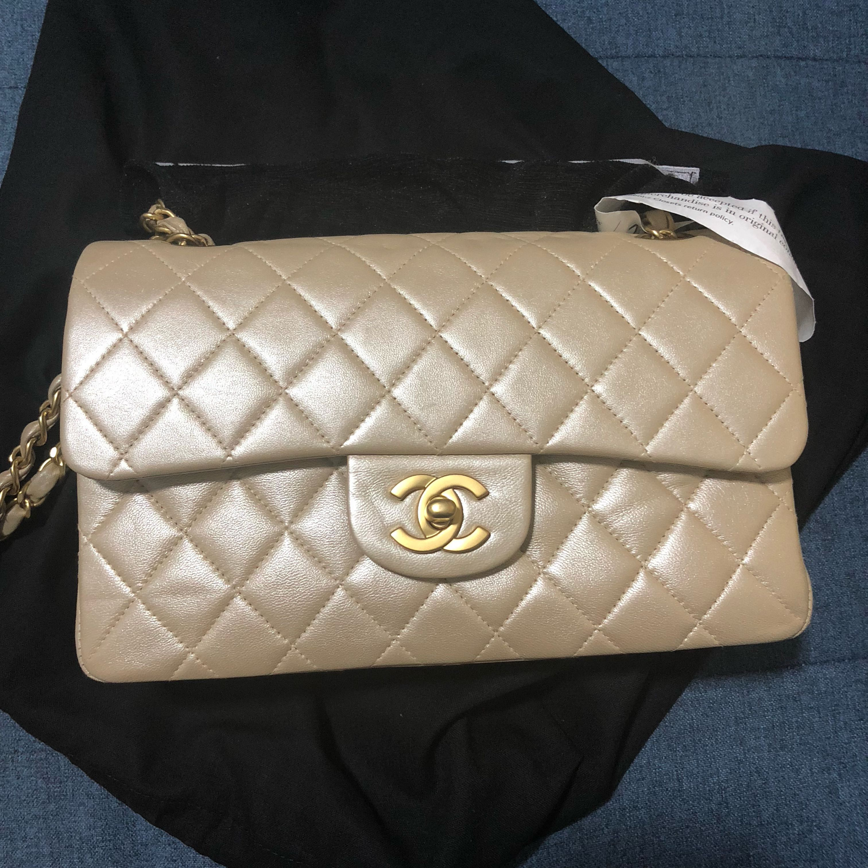 023f43e32393 Chanel Classic Flap Bag in Pearly Gold