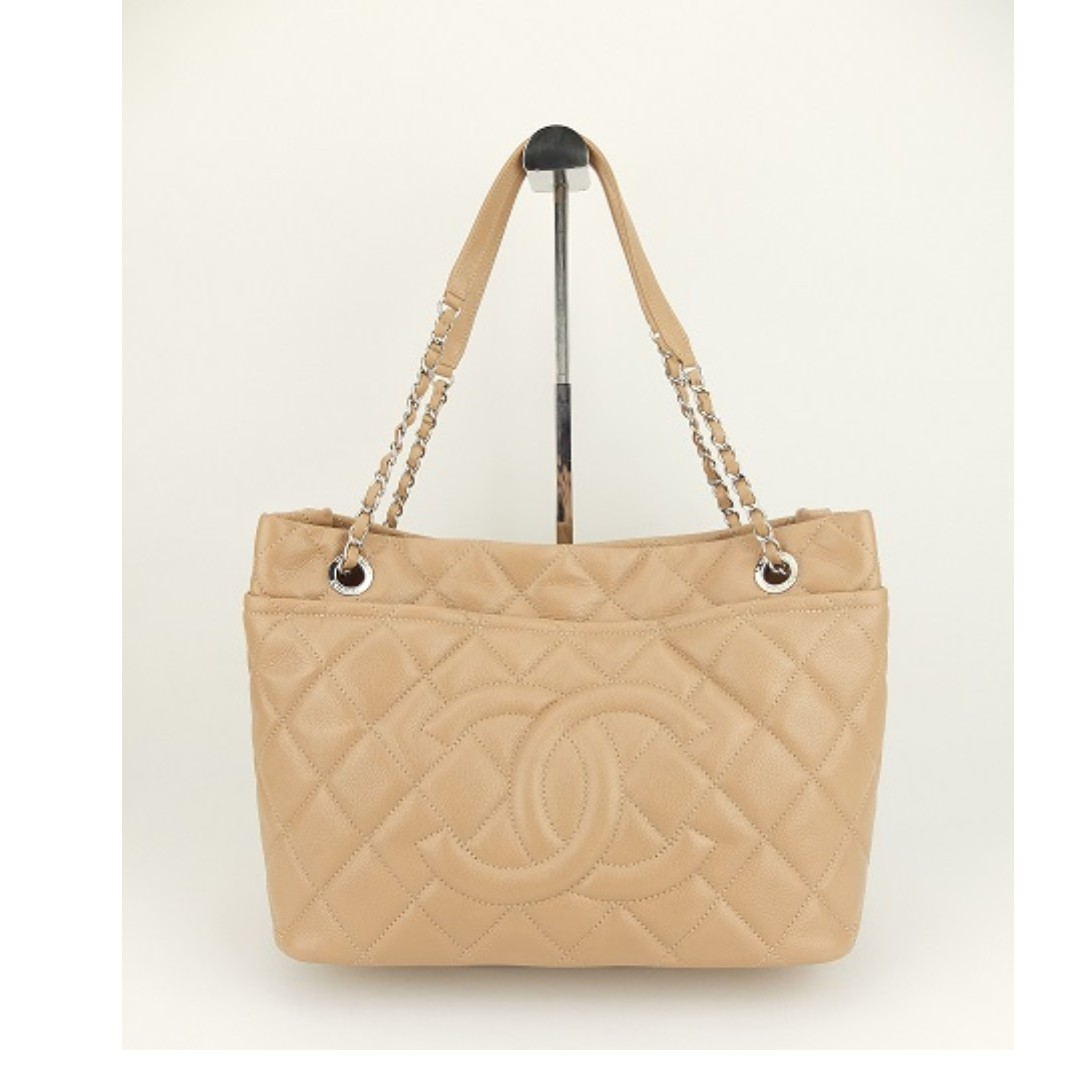 6645d4a1fbd1d3 Chanel Quilted Caviar Leather Timeless CC Soft Shopping Tote (Beige ...