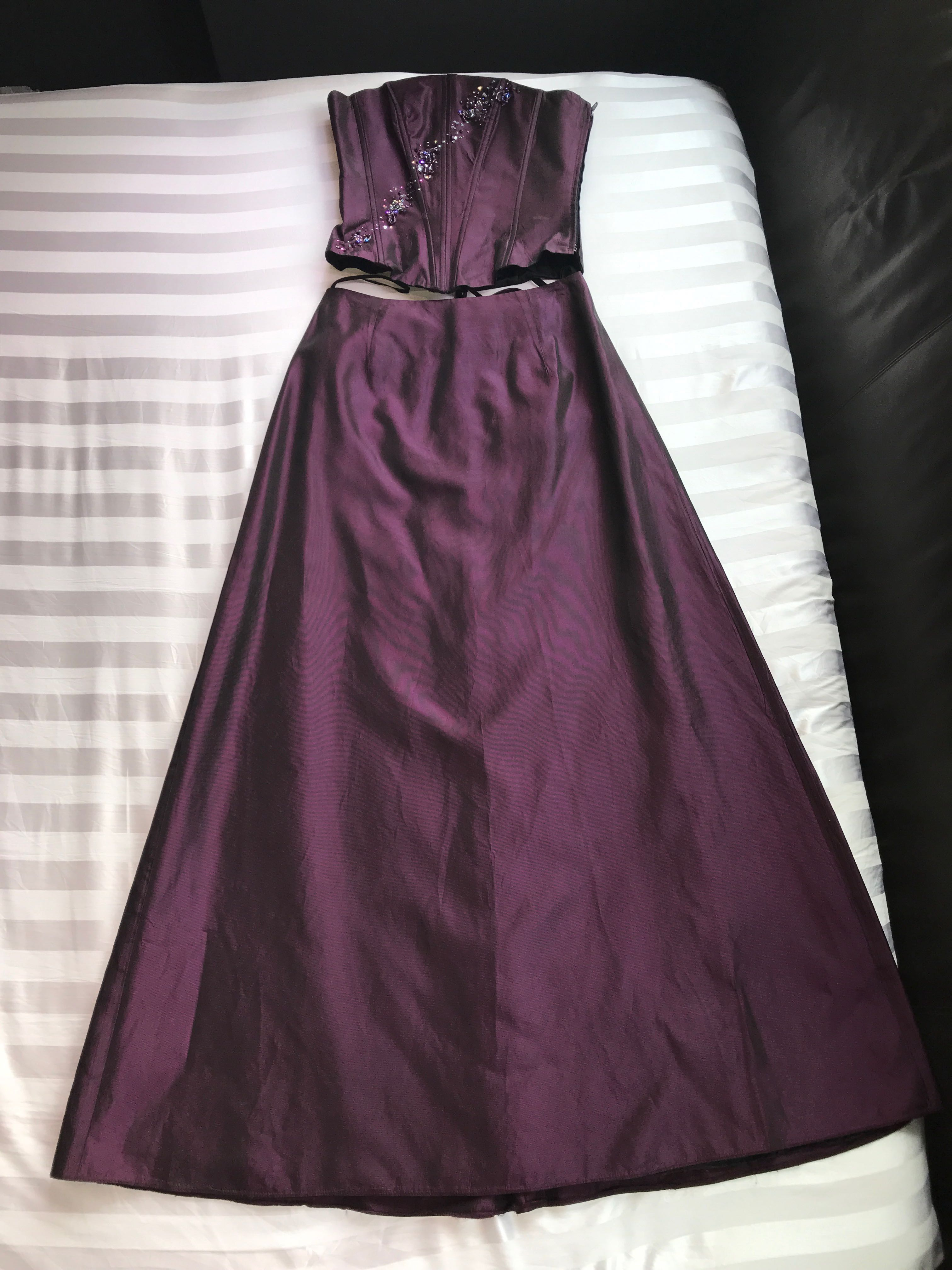 341fcbfd053 Iridescent Purple 2-Piece Gown Set  Embellished Corset Top   Full ...