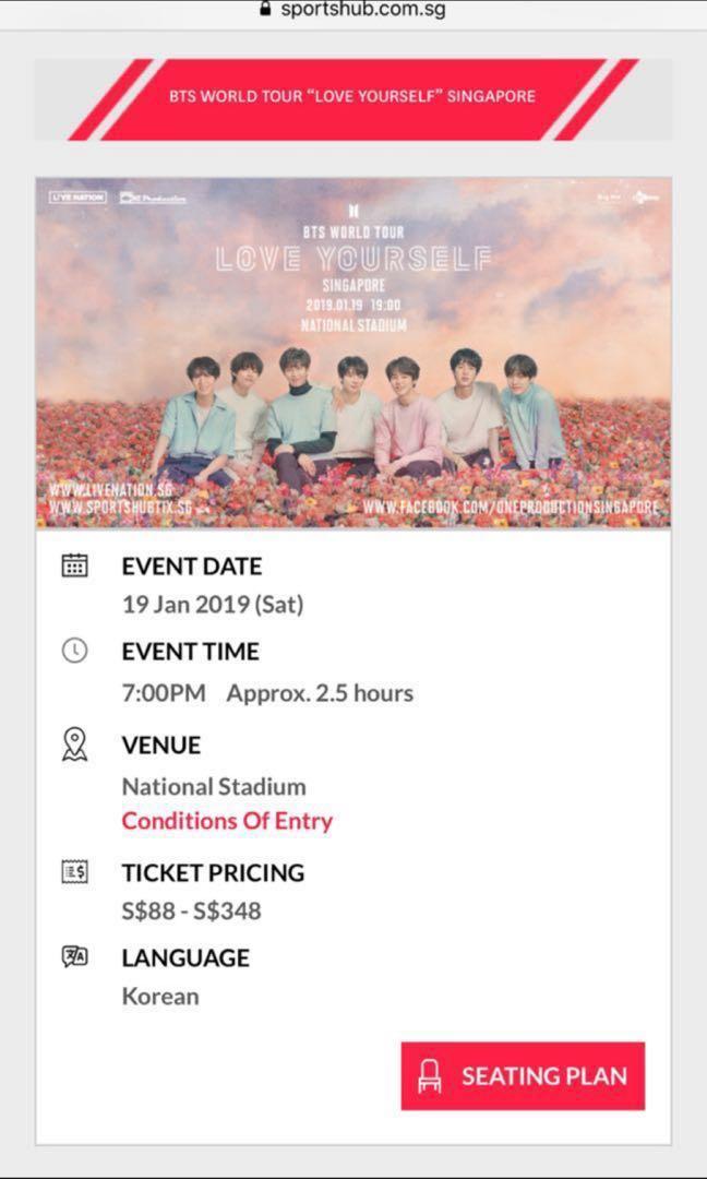 Last One Bts Concert Tickets Cat 2 Blue 1 Entertainment K Wave On