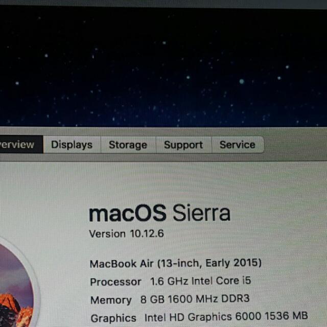 Macbook Air 2015 13 inch Ram 8gb SSD 256