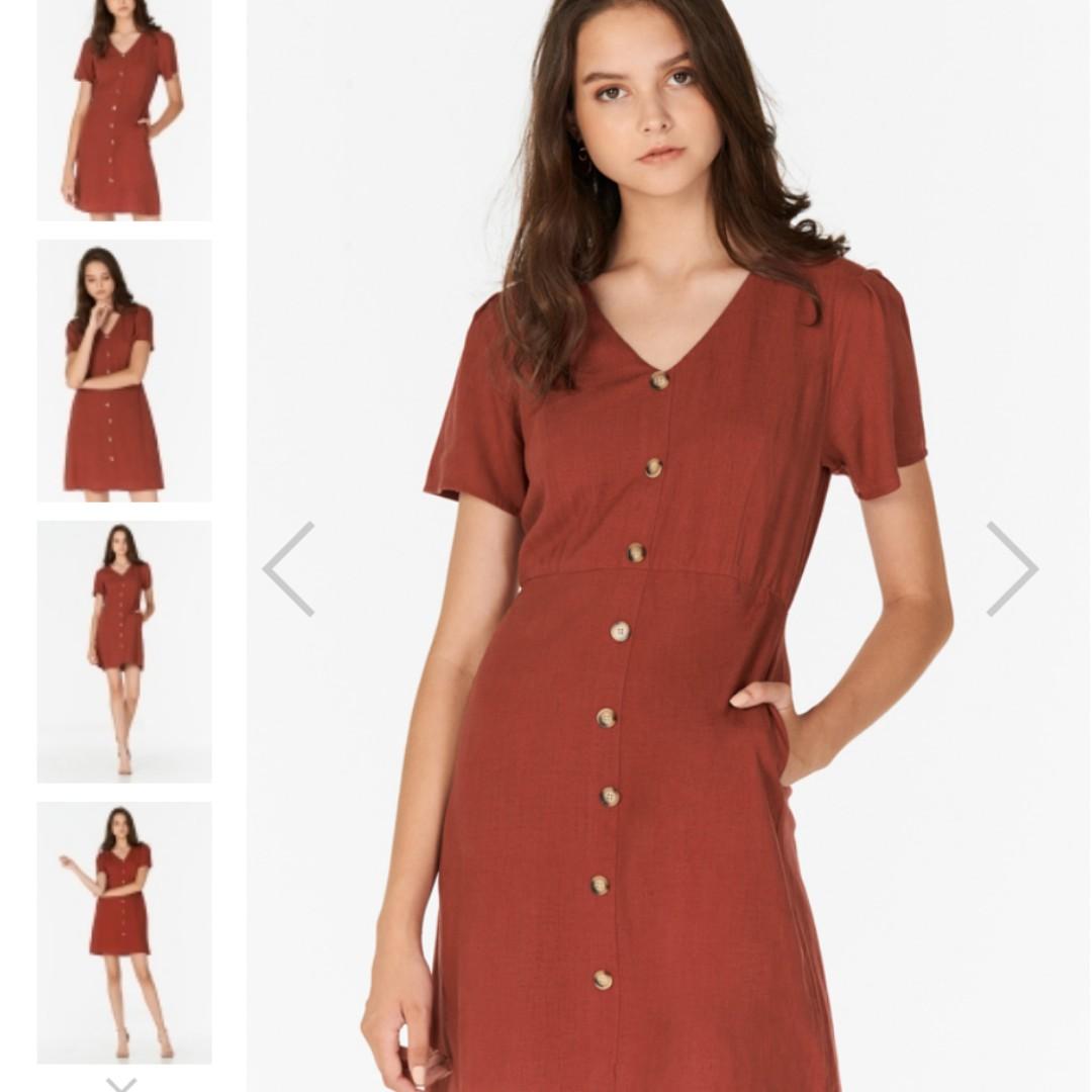369541e5dcc Marella Linen Dress in Brick Red