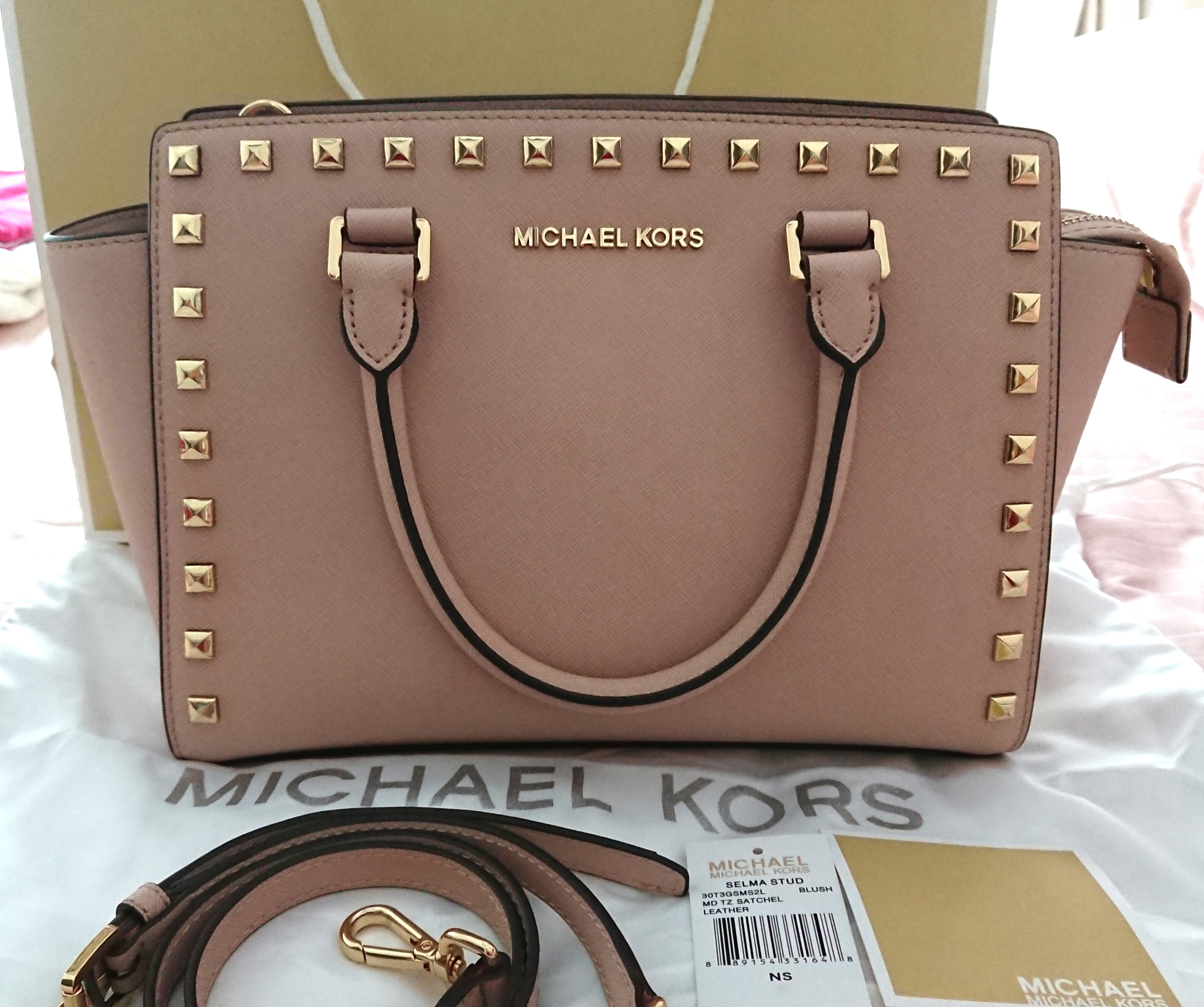 ae86c337f8dd Michael Kors Selma Stud Medium Satchel Bag Blush, Luxury, Bags & Wallets,  Handbags on Carousell