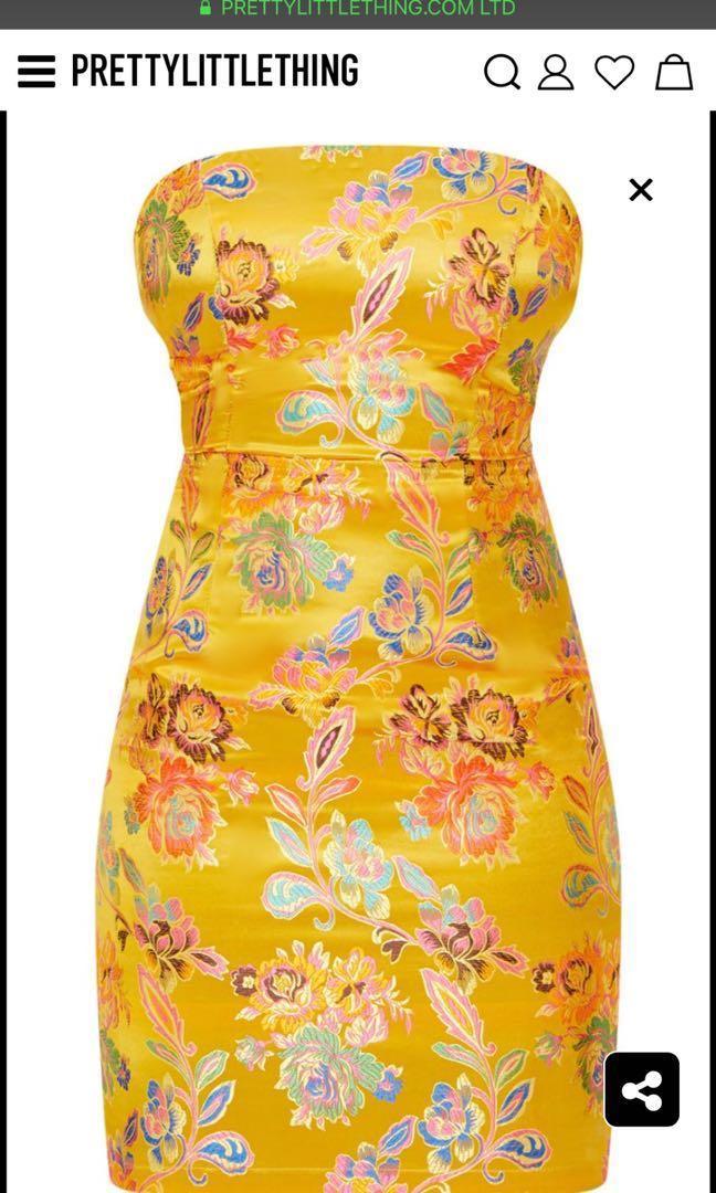 Mustard Oriental Bodycon Dress