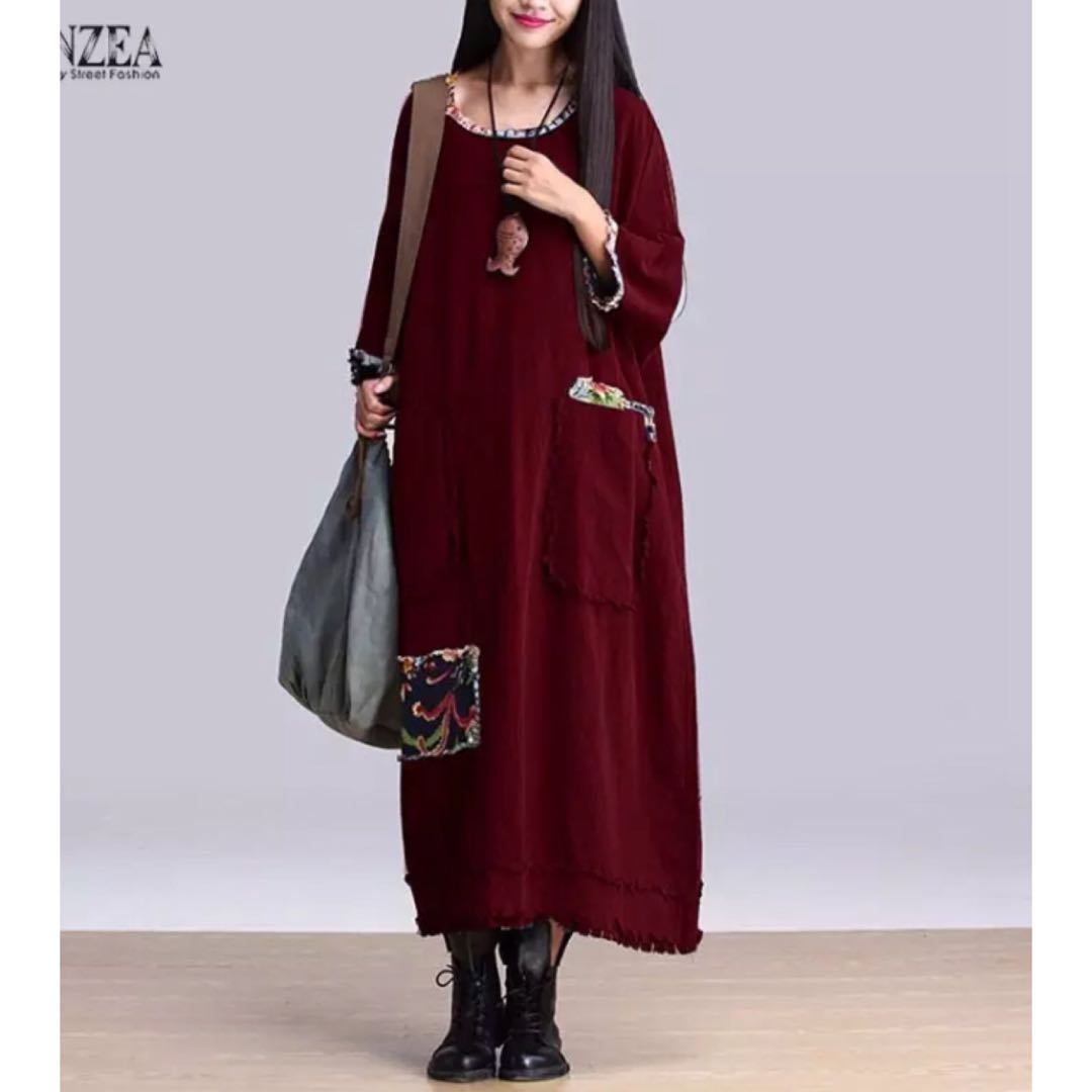 PO) S-5XL Women Vintage Elegant Dress 2018 Autumn Zanzea O Neck 3 4 ... 5179ca437549