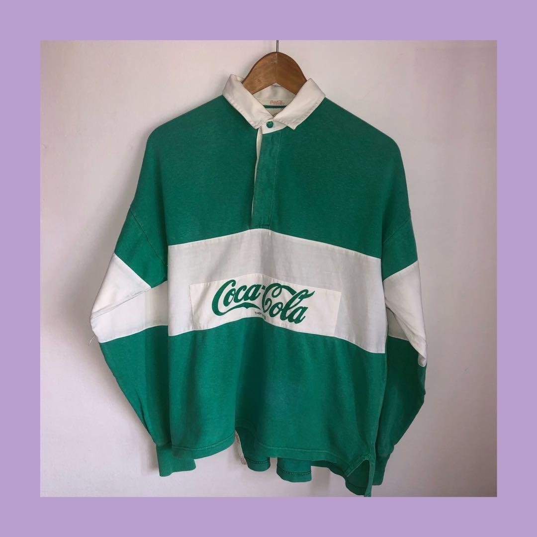 39d9bc20d164 RARE  🔥 Vtg  80s Coca Cola Rugby Polo