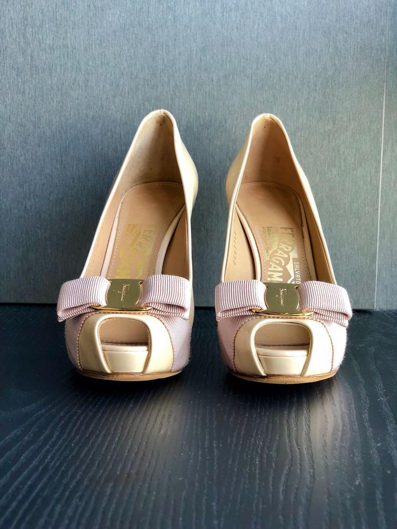 e55eae30a00 Salvatore Ferragamo Plum Macaron Patent Calf Heels