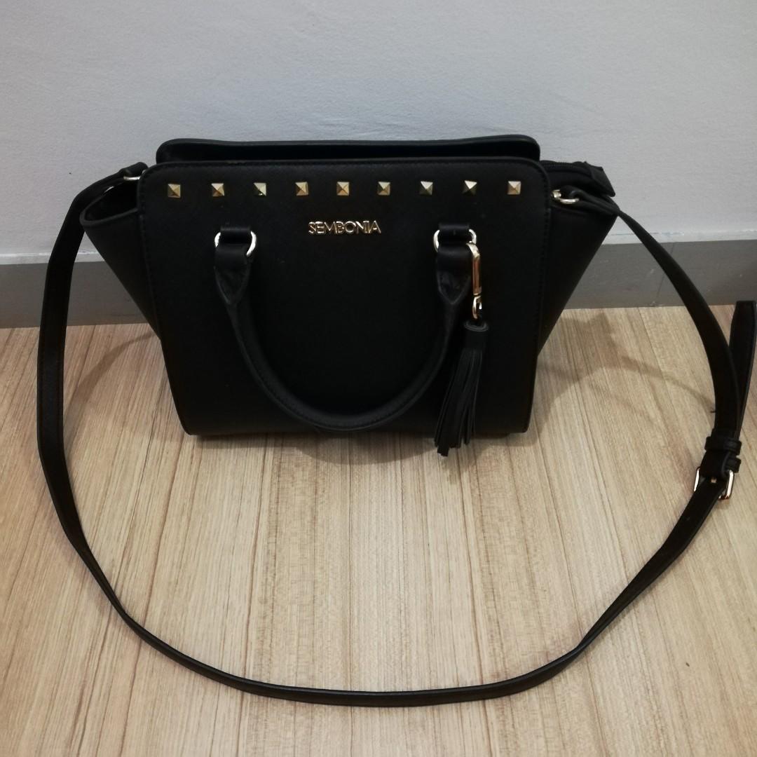 5f82e87507 SEMBONIA Synthetic Leather Satchel Bag Black