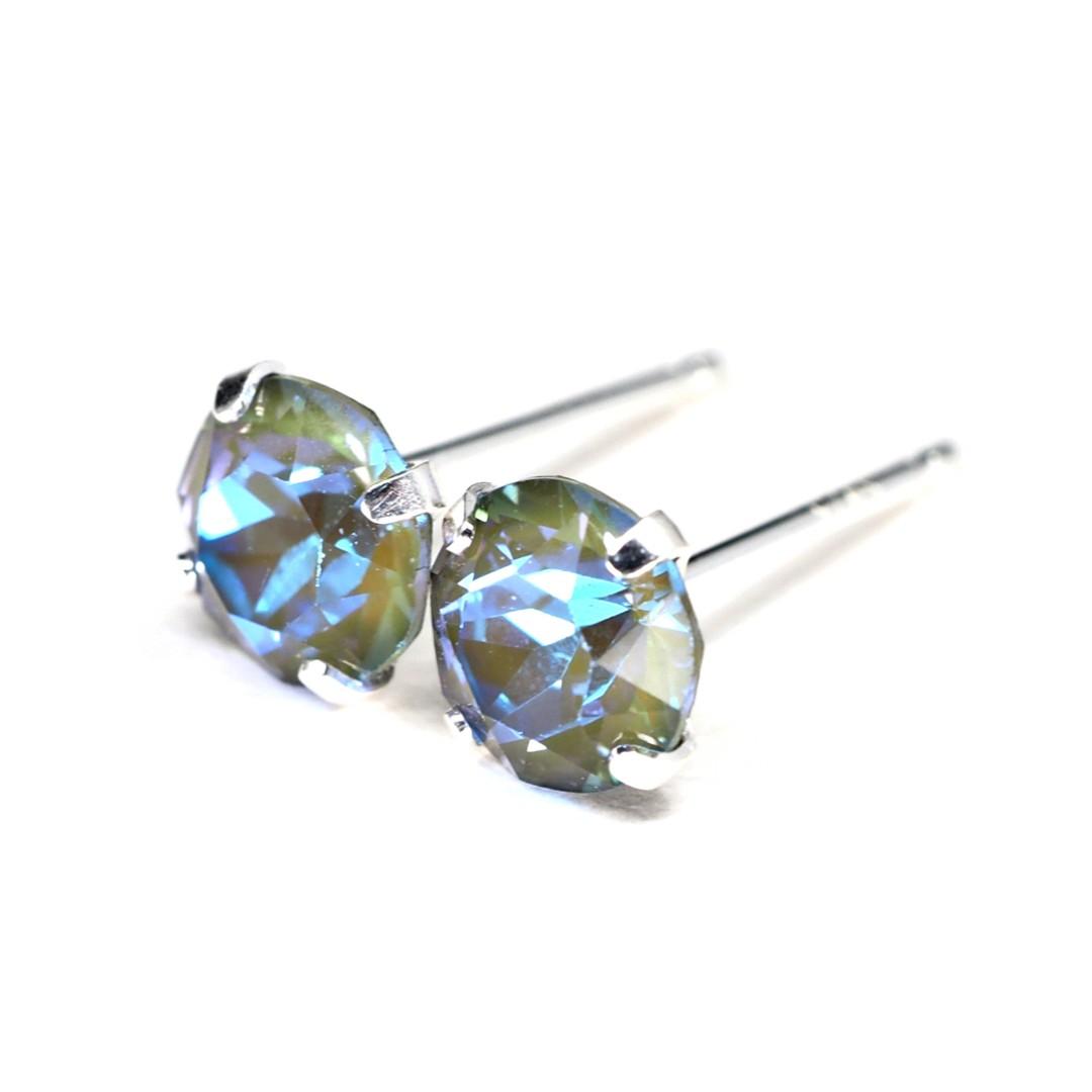 cb2ad2e645590 Sparkly Army Green Swarovski Crystal - Sterling Silver Earrings ...
