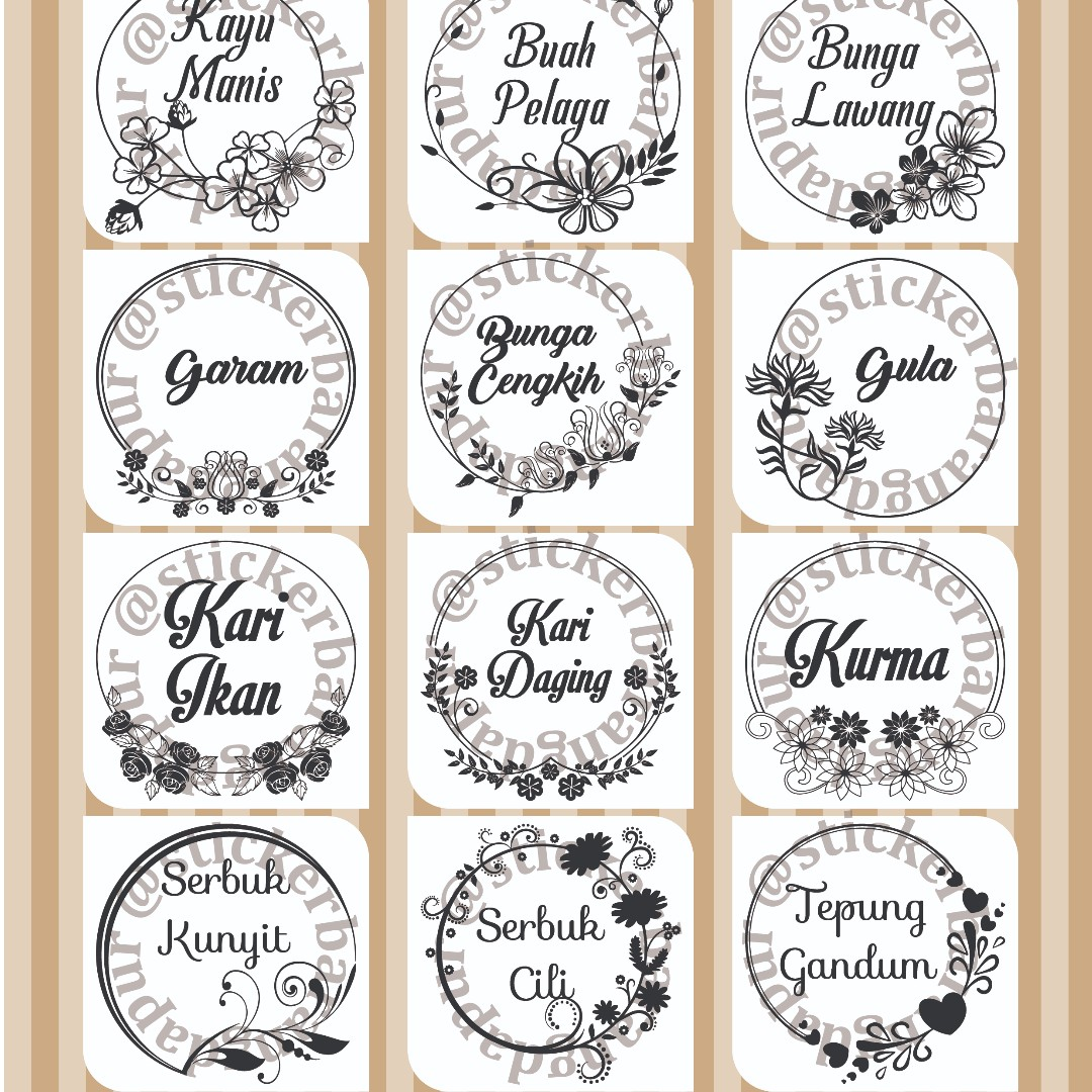 Sticker Barang Dapur Kalis Air Circle Frame Kitchen Liances On Carou