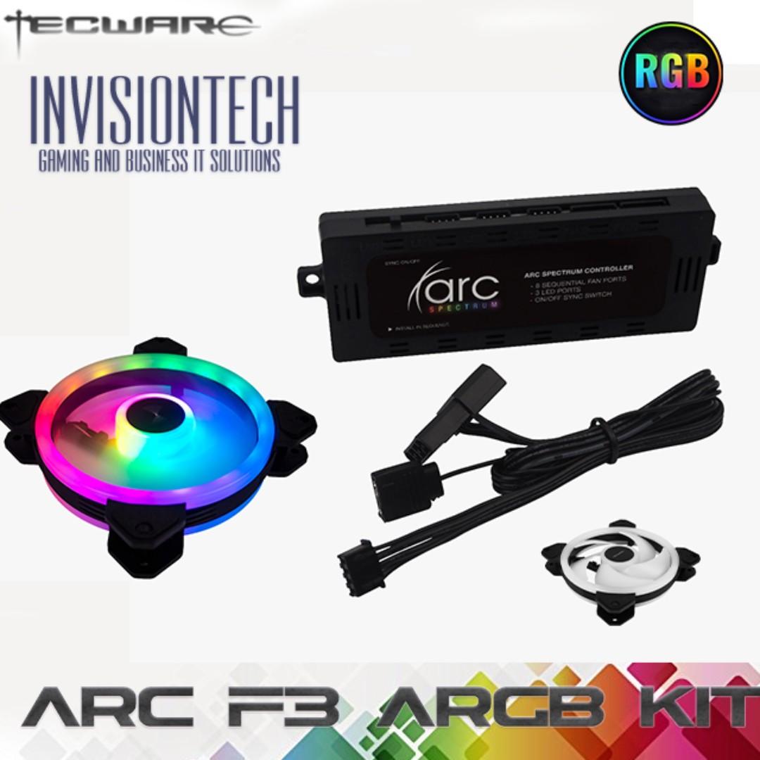 Tecware Arc F3 ARGB Starter Kit (4x12cm F1 Triple Inner+Outer Ring ARGB  Fans, 1x ARC Sync Hub)