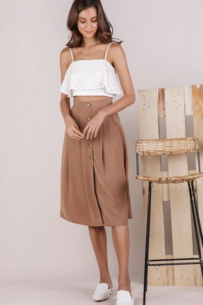 5338b8133 TTR Alexa Button Midi Skirt, Women's Fashion, Clothes, Pants, Jeans ...