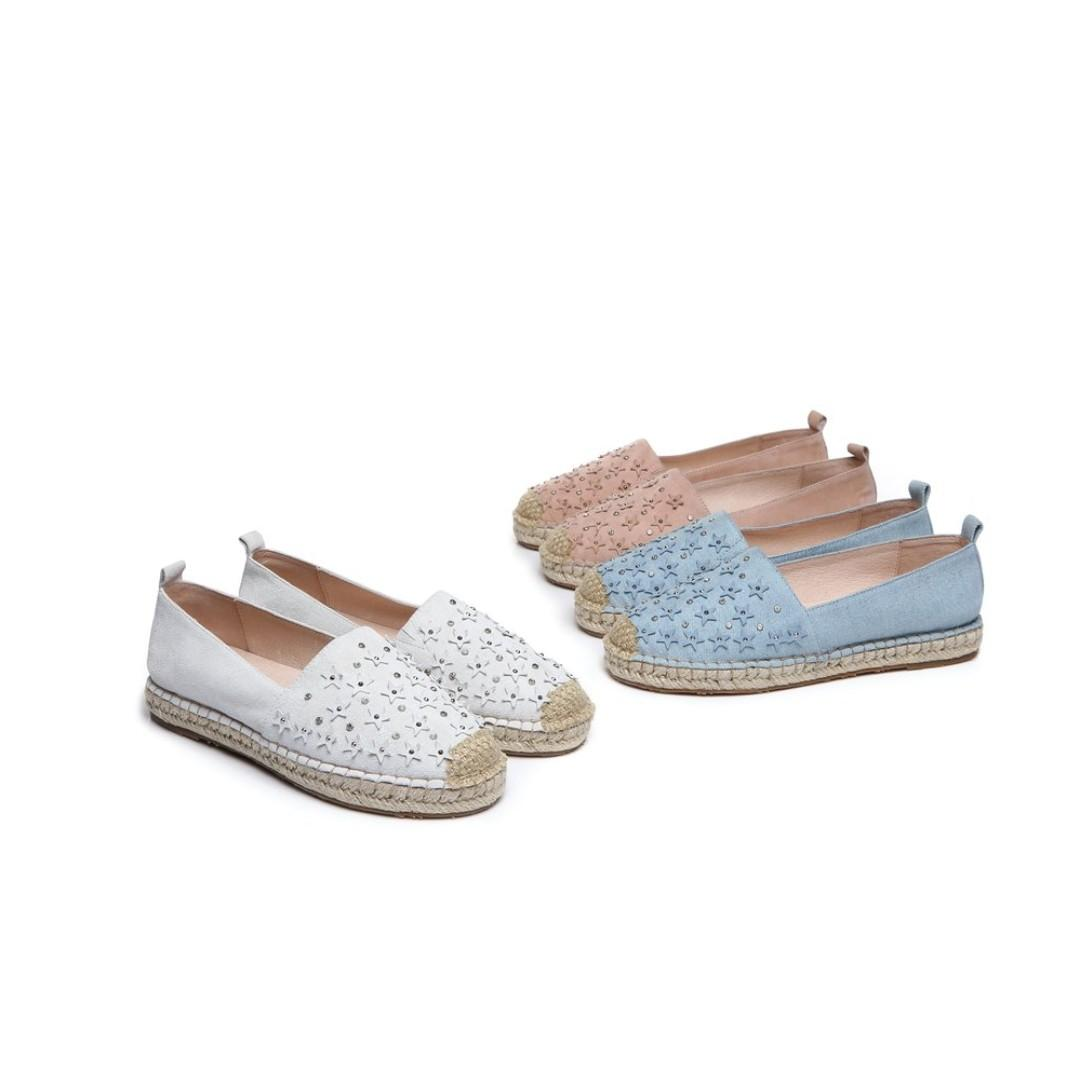 UGG Starry Ladies Rivet Star Flats Loafers Casual Slip-on Shoes, Low-Top Canvas Outside