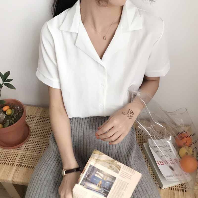 cd5051b5 V-neck collar shirt button blouse short sleeve office work plain simple  casual formal shirt blouse Korean ulzzang kpop, Women's Fashion, Clothes,  ...