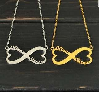 🚚 Personalized Infinity Necklace Two Name Love Has No End Love Jewelry Christmas Gift