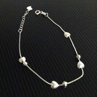 Genuine 925 Silver Hearts & Shimmering Balls Bracelet