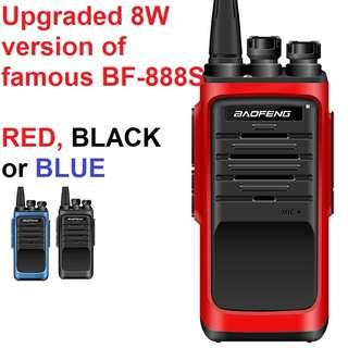 🚚 New Arrival, 8W Upgraded New Generation Baofeng BF-T88 (AKA BF-888S(I))  Transceiver Walkie Talkie UHF: 400-480MHz Two Way Radio including earpiece in Red, Black or Blue