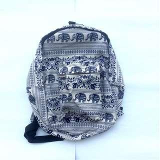 Mini Canvas Backpack Tas Pattern Gajah Made in Thailand