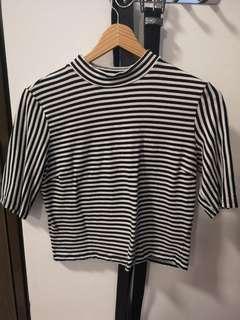 Monki high neck stripes t shirt