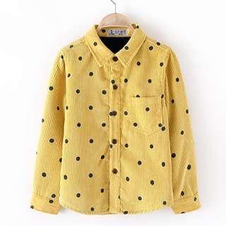 Babybitbit |Baby Boy Long Sleeve Corduroy Shirt with Fleece Lining | B639