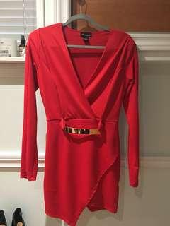 Asymmetrical Red Long Sleeve Dress