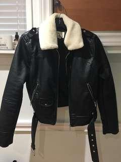 Sherpa Faux Leather Jacket