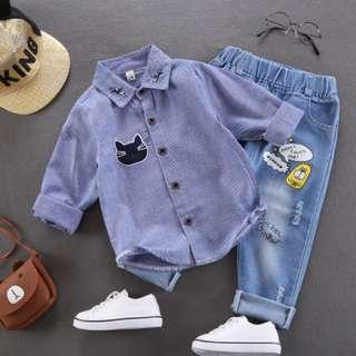 Babybitbit |Baby Boy Long Sleeve Shirt with embroidery | B640