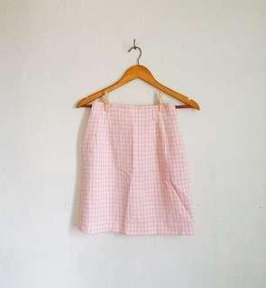High-Waisted Pink Gingham A-Line Skirt