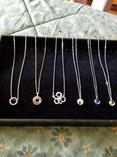 6 Authentic Swarovski pendant/necklaces