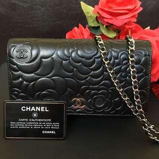 Chanel Camelia wallet on chain in Black Lambskin