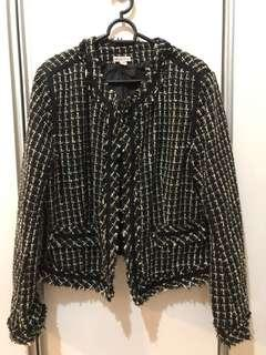 Women's Black White Plaid One Hook Blazer Jacket