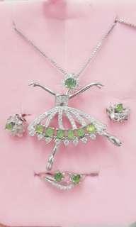 🚚 天然緬甸翡翠玉A貨正品~翡翠蛋面925銀鑲嵌~項鍊+戒指+耳釘三件套組