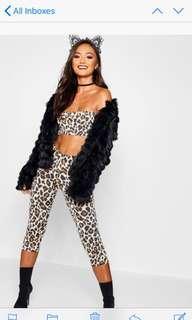 Leopard Halloween costume crop bandeau top high waist 3/4 pants